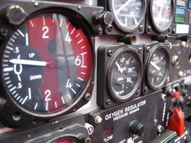 stock photo of snowbird  - gauges from cockpit of snowbird plane - JPG