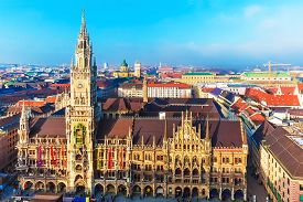 stock photo of bavaria  - Scenic aerial panorama of the Marienplatz Square with ancient medieval gothic City Hall building architecture in the Old Town of Munich - JPG