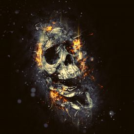 picture of morbid  - Skull in Flames as Conceptual Spooky Horror Halloween image - JPG