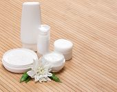 pic of fern  - Jars of cream and other beauty products with white flower and fern leaves on wooden surface - JPG
