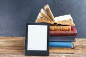image of vintage antique book  - Pile of paper antique books with electronik book - JPG