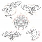 image of eagles  - Set of vintage thin line eagle labels  - JPG