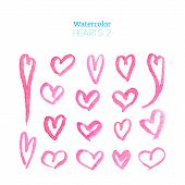 pic of heart  - Hand drawn watercolor hearts set isolated on white background - JPG