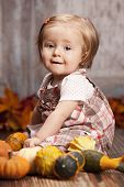 picture of gourds  - Adorable baby girl sitting next to pumpkins and gourds and other fall decor - JPG