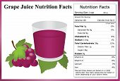 stock photo of grape  - Glass of grape juice with a bunch of grapes grape leaves and a nutrition label - JPG