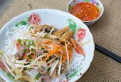 image of nuong  - Pork grilled spring rolls and fresh sausages with rice noodle and vegetable Vietnamese typical cuisine so called BUN THIT NUONG - JPG