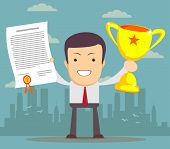 stock photo of award-winning  - Vector illustration of businessman proudly standing holding up winning trophy and showing an award certificate - JPG