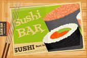 image of sushi  - Sushi Poster on Wooden Background - JPG