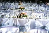 picture of funeral  - Laid table at a wedding funeral reception - JPG