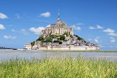 picture of michel  - View of famous Mont-Saint-Michel and green grass France Europe. ** Note: Soft Focus at 100%, best at smaller sizes - JPG