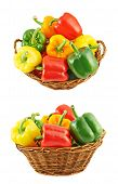 foto of yellow-pepper  - Wicker basket full of sweet green - JPG