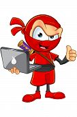 pic of ninja  - An illustration of a sneaky cartoon Ninja character dressed in red - JPG