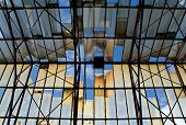 stock photo of roof-light  - Broken glass roof in the old ruin - JPG