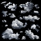 stock photo of cloud formation  - Set of multiple clouds and cloud formations isolated against the black background - JPG