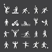 picture of cricket  - Silhouette figures of athletes popular sports - JPG