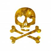 picture of skull crossbones  - Golden mosaic faceted luxury skull in love ironic icon - JPG
