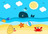 image of beach shell art  - summertime on the beach funny cartoon illustration - JPG