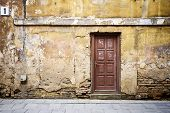 picture of abandoned house  - Ancient wooden door of a abandoned house - JPG