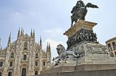 foto of piazza  - The Church and statueof the Piazza del Duomo of Milan Italy - JPG
