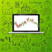 stock photo of nyse  - laptop and exchange doodle icon - JPG
