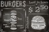 picture of burger  - Burger Menu Poster on Chalkboard - JPG