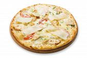 foto of hot fresh pizza  - Delicious pizza with chicken parmesan tomatoes white sause and fresh arugula  - JPG