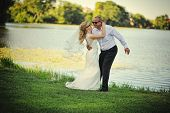 pic of married  - happy wedding couple and newlywed just married  - JPG