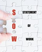 foto of statements  - Hand of a business man completing the puzzle with the last missing piece - JPG