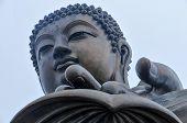 pic of lantau island  - Tian Tan Buddha of Hong Kong shrouded in fog - JPG