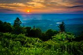picture of virginia  - Sunset over the Shenandoah Valley seen from Skyline Drive in Shenandoah National Park Virginia - JPG