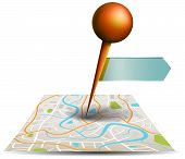 stock photo of gps  - A city map with digital satellite gps pin point with locations and label tag in white isolated background create by vector - JPG