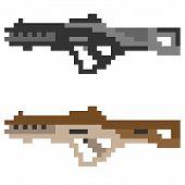 foto of rifle  - illustration vector isolate icon pixel art gun assault rifle - JPG