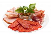 picture of deli  - The deli meat on plate on white background - JPG