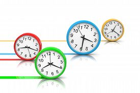 stock photo of pass-time  - Colorful Round Clocks Rolling on White Surface Running Time Concept 3D Illustration - JPG