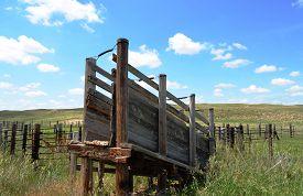 foto of western nebraska  - Livestock Loading Chute Ramp on a rural ranch in the prairie grasslands of Nebraska - JPG