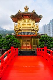 picture of hong kong bridge  - The Golden pavilion and red bridge in the Nan Lian Garden near the Chi Lin Nunnery a famous landmark in Hong Kong - JPG
