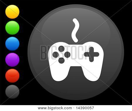 poster of remote controller icon on round internet button original vector illustration 6 color versions includ