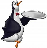 image of serving tray  - penguin with a tray walking and very happy - JPG