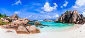 beautiful tropical exotic beach Anse Cocos, La Digue island, Seychelles poster