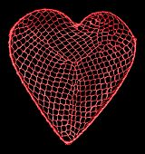 Heart shape with netting and a outline clipping path