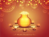 Glossy Pot full of Gold Coins on Illuminated Lit Lamps decorated Rangoli, Elegant Beautiful Festival poster