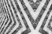 stock photo of diagonal lines  - A black and white hazard stripes background with an aged vintage texture - JPG