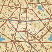 Illustrated seamless tile of a generic city without names