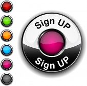 Sign up realistic button. Vector.