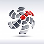 Abstract modern 3d propeller symbol. Vector.
