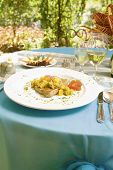 picture of yellowfin tuna  - Yellowfin tuna served on a table in a garden restaurant - JPG