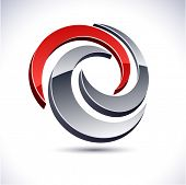 Abstract modern 3d swirl symbol. Vector.