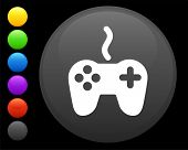 remote controller icon on round internet button original vector illustration 6 color versions includ poster