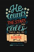Hand Lettering He Counts The Stars And Calls Them All By Name. Bible Verse. Christian Poster. Modern poster
