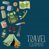 Set Of Travel Equipment. Accessories For Camping And Camps. Colorful Sketch Cartoon Illustration Of  poster